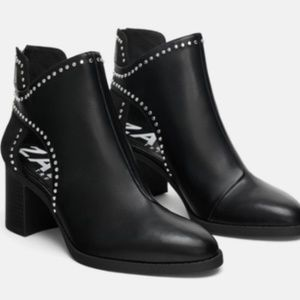 Zara Studded Cut Out Ankle Booties